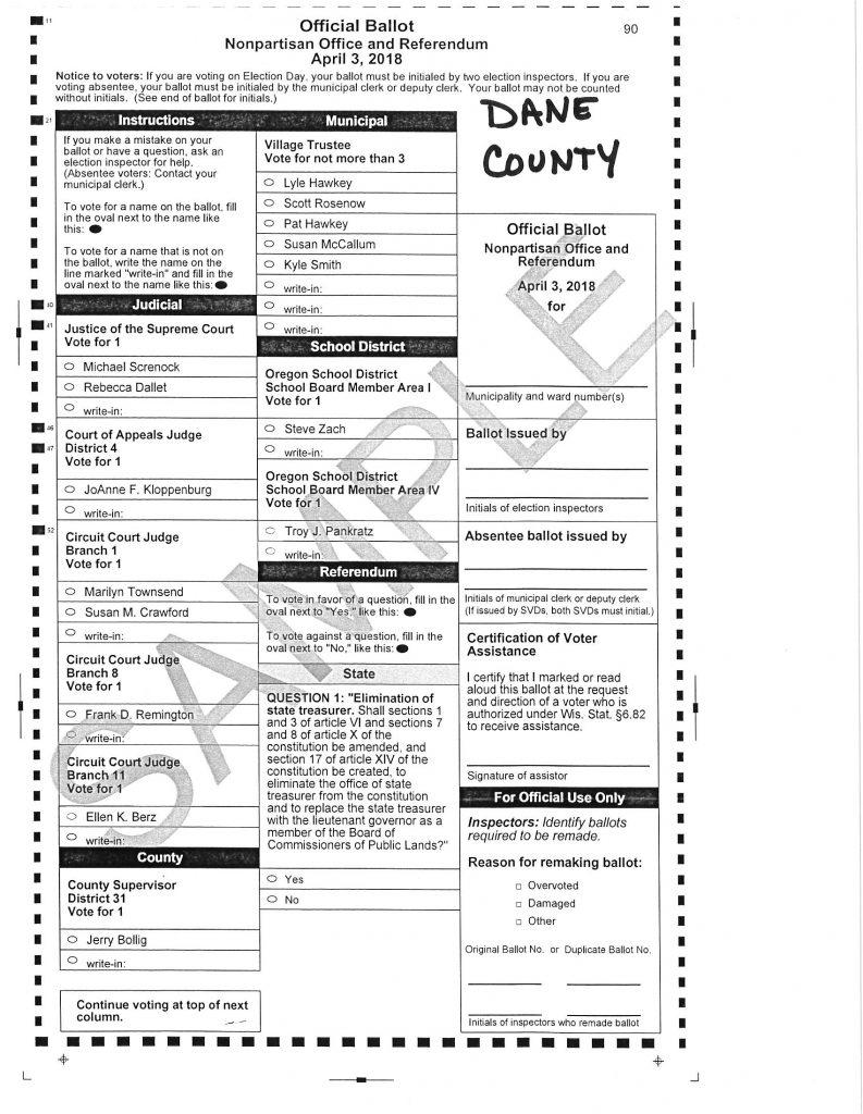 dane county ballot 4-2-18